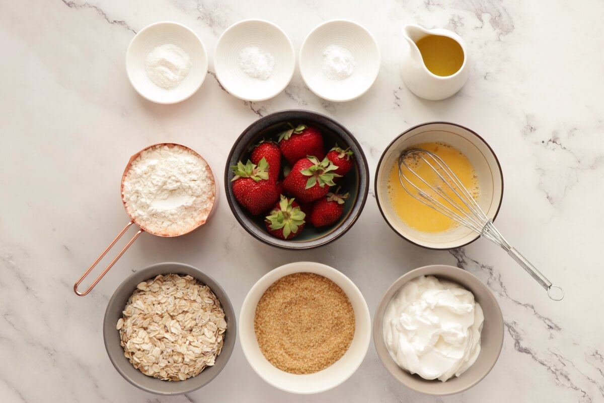 Ingridiens for Strawberry Oatmeal Muffins
