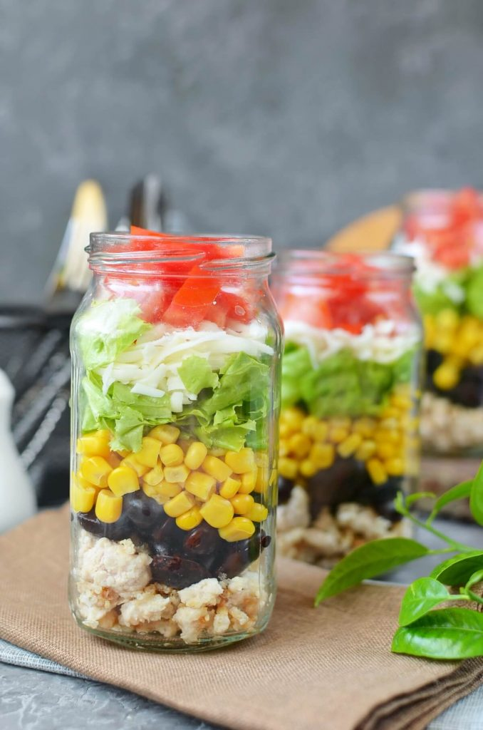 Taco Salad in a Jar Recipe-How To Make Taco Salad in a Jar-Delicious Taco Salad in a Jar