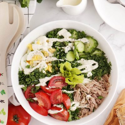 Tuna Cobb Salad Recipe-Cobb Salad with Egg and Tuna-Ranch Tuna Cobb Salad