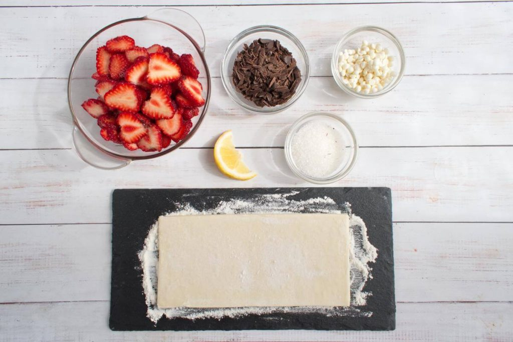 Ingridiens for Easy Puff Pastry Strawberry Tarts