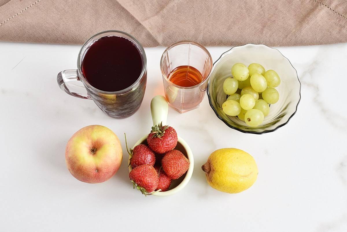 Ingridiens for Frozen Sangria Fruit Cups