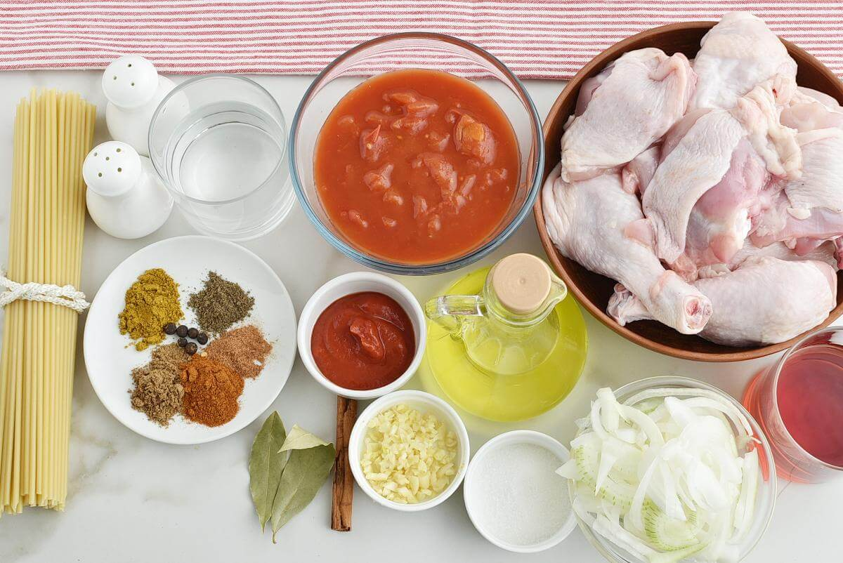 Ingridiens for Greek Corfu Chicken and Bucatini
