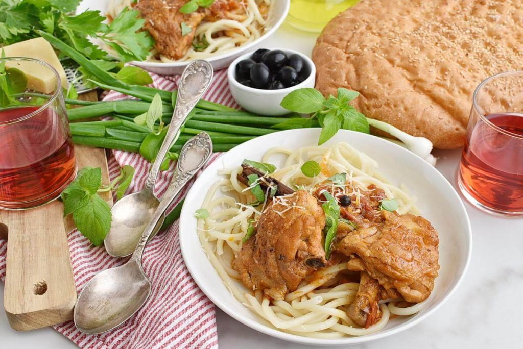 How to serve Greek Corfu Chicken and Bucatini