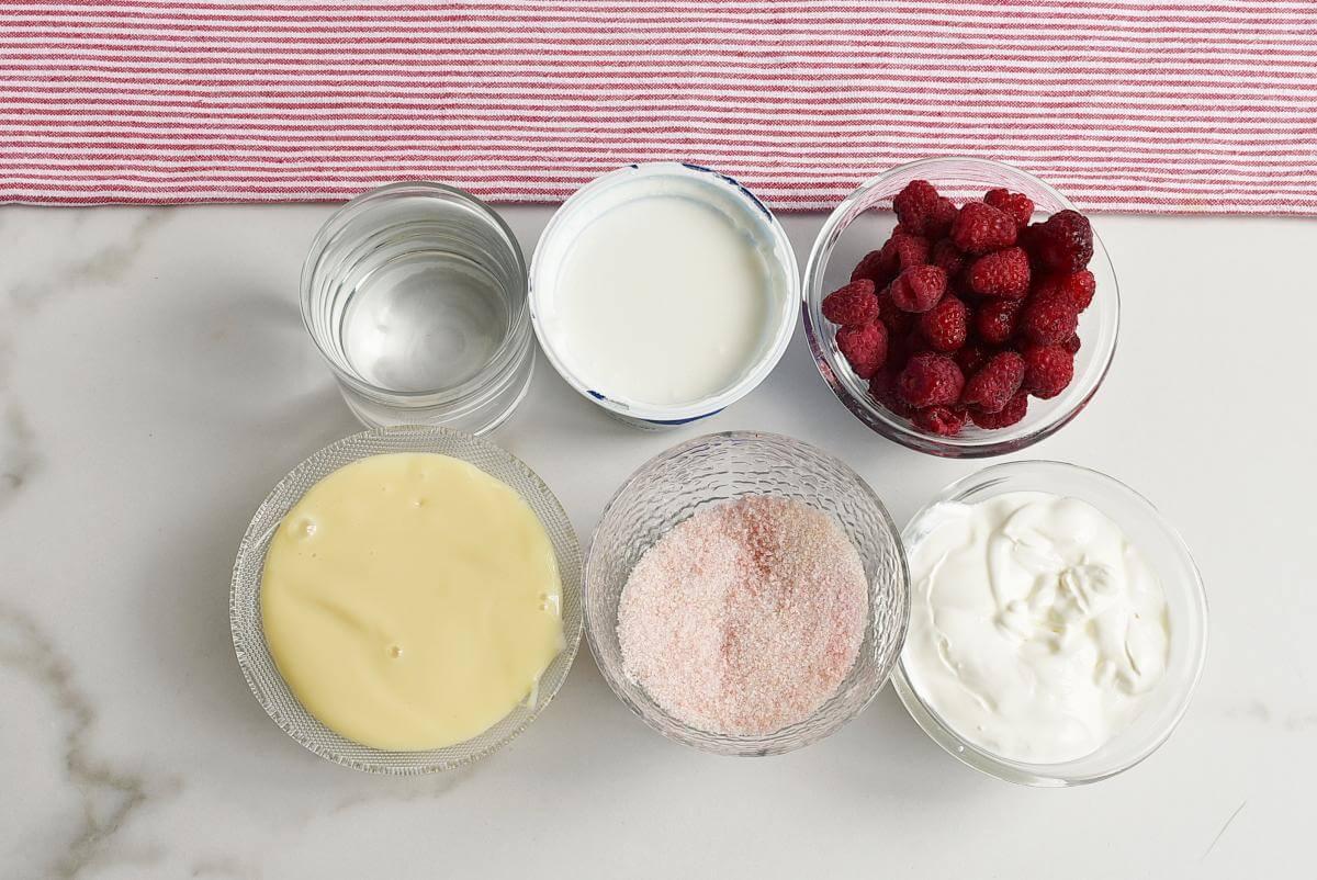 Ingridiens for Greek Yogurt Raspberry Jello Dessert