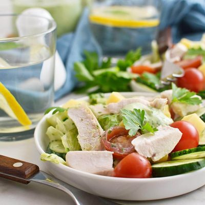 Green Goddess Salad with Chicken Recipe–Homemade Green Goddess Salad with Chicken –Easy Green Goddess Salad with Chicken