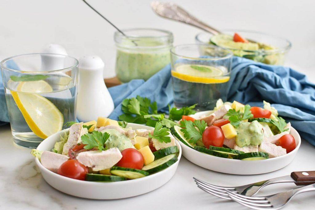 Green Goddess Salad with Chicken Recipe–Homemade Green Goddess Salad with Chicken –Easy Green Goddess Salad with Chicken