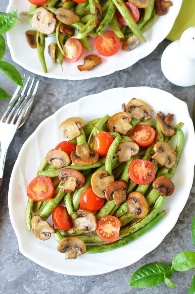 Haricots Verts with Cherry Tomatoes and Mushrooms Recipe-How To Make Haricots Verts with Cherry Tomatoes and Mushrooms-Delicious Haricots Verts with Cherry Tomatoes and Mushrooms