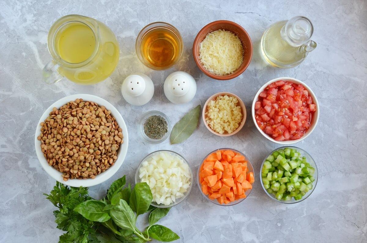 Ingridiens for Italian Lentil Soup