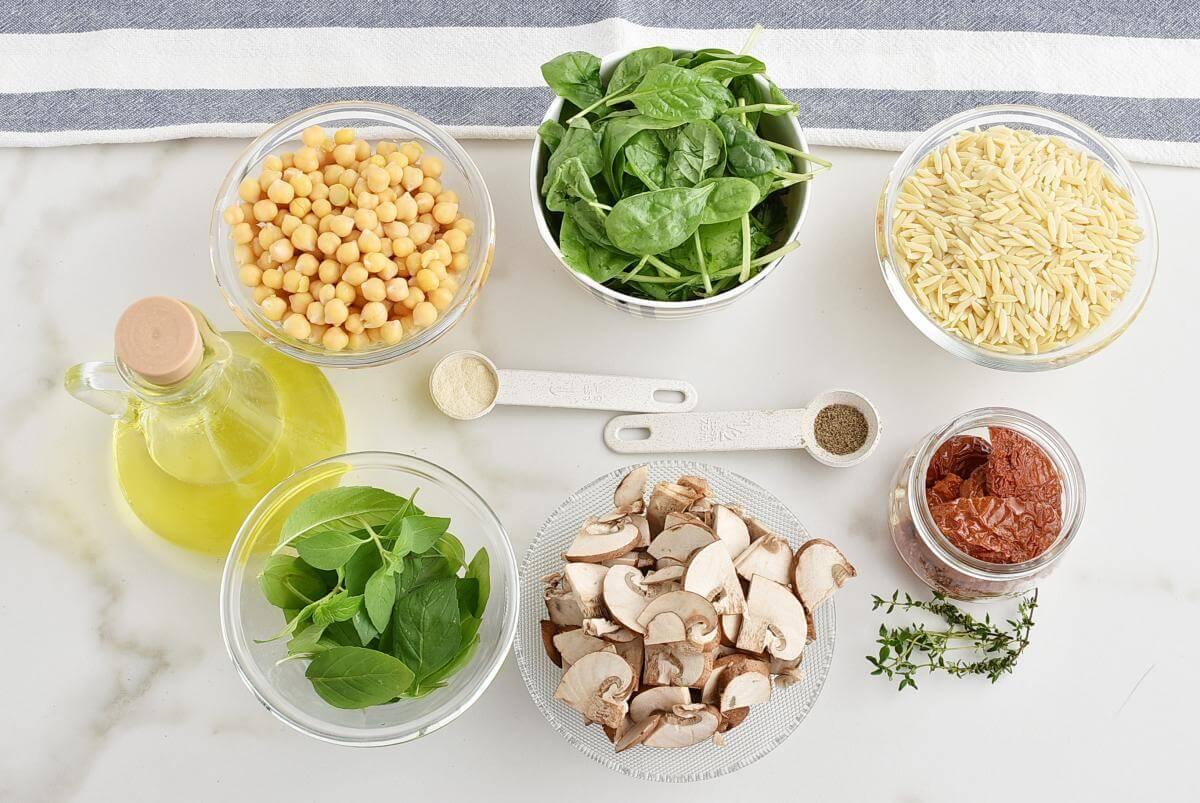 Ingridiens for Italian Orzo Jar Salad