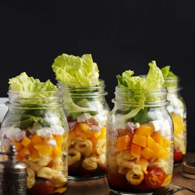 Jar Salad with Tortellini Recipe-Healthy Mason Jar Salad-Tortellini Salad in a Jar
