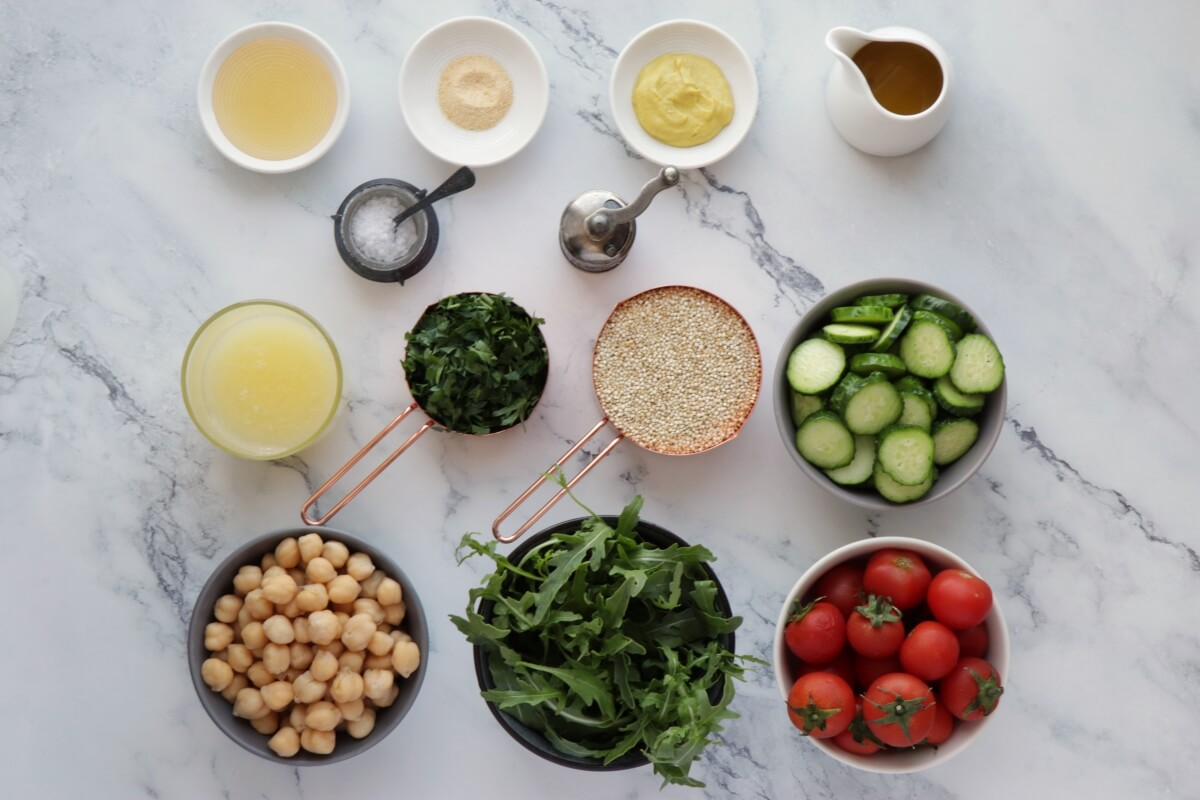 Ingridiens for Lemon Chickpea & Quinoa Jar Salads