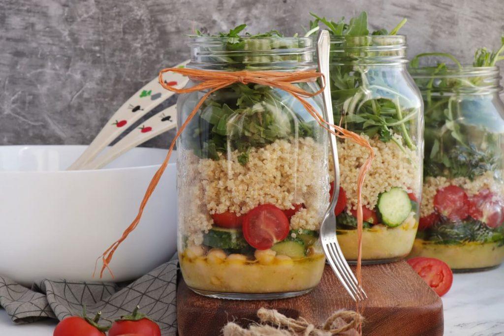 Lemon Chickpea & Quinoa Mason Jar Salads Recipe-Chickpea & Quinoa Mason Jar Salad-Healthy Easy Jar Salad