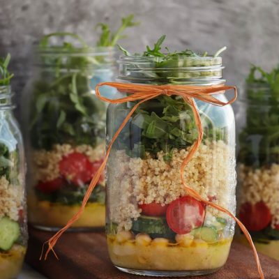 Lemon Chickpea & Quinoa Mason Jar Salads Recipe-Chickpea & Quinoa Mason Jar Salad-Healthy Easy Jar Salad
