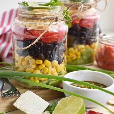 Mexican salad in a jar Recipes–Homemade Mexican salad in a jar–Easy Mexican salad in a jar