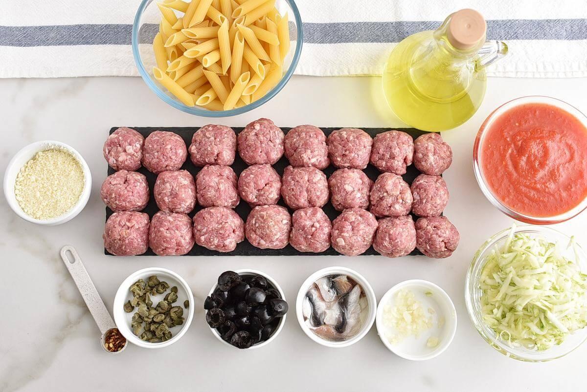 Puttanesca meatball bake Recipe–Homemade Puttanesca meatball bake–Easy Puttanesca meatball bake