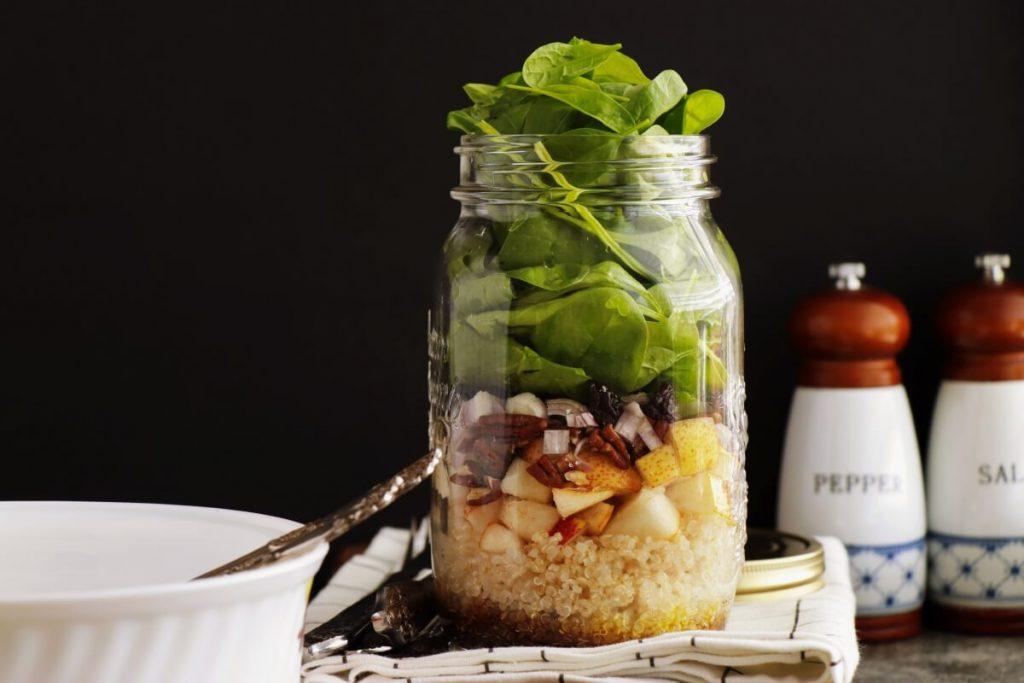 Quinoa, Pear and Spinach Jar Salad Recipe-Easy Salad in a Jar-Vegan Salad in Jar