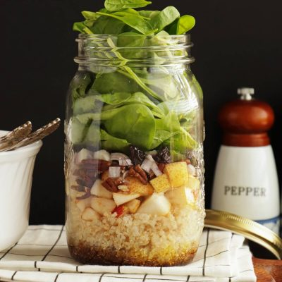 Quinoa, Pear and Spinach Jar Salad Recipe-Easy Salad in a Jar-Vegan Salad in Jar