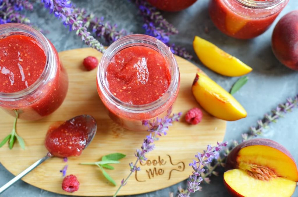 Raspberry Peach Freezer Jam Recipe-How To Make Raspberry Peach Freezer Jam-Delicious Raspberry Peach Freezer Jam