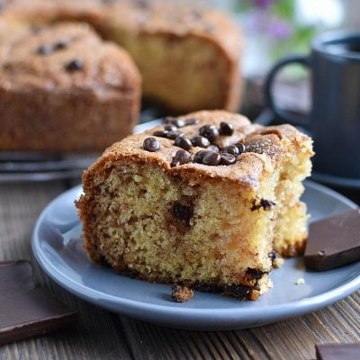 Sour Cream Chocolate Chip Coffee Cake Recipe–Homemade Sour Cream Chocolate Chip Coffee Cake–Easy Sour Cream Chocolate Chip Coffee Cake