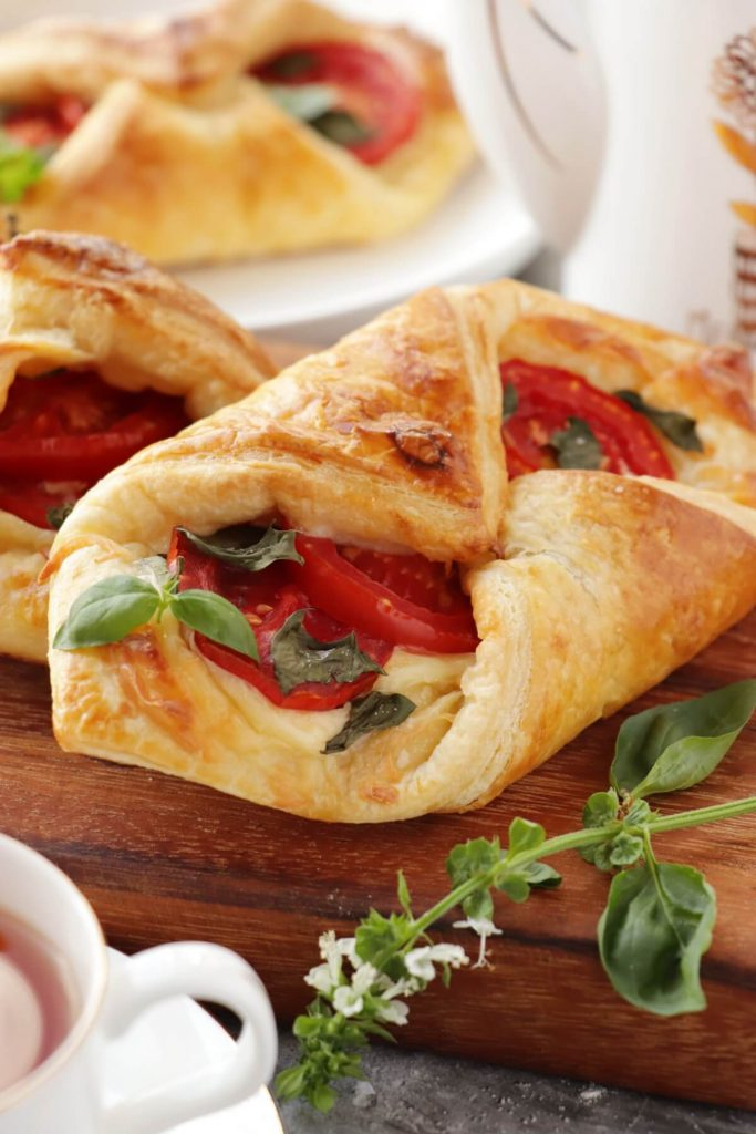 Tomato Basil Pastries Recipe-Quick and Easy Tomato Mozzarella Pastries-Easy Puff Pastry Recipe