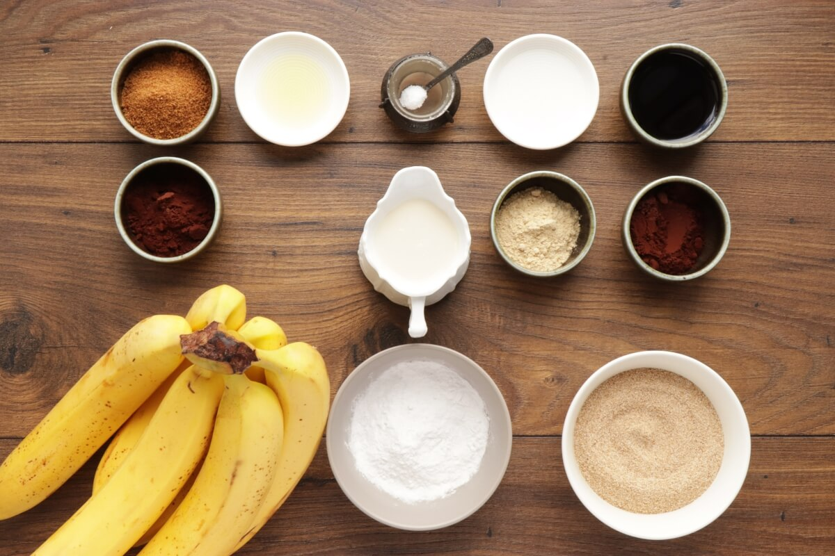 Ingridiens for Vegan Chocolate Crepes with Banana