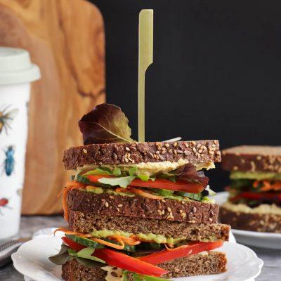 Veggie & Hummus Sandwich Recipe-Ultimate Veggie Hummus Sandwich-Healthy Veggie Sandwich