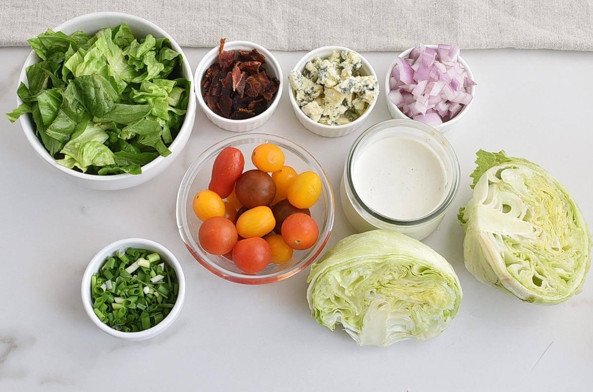 Ingridiens for Wedge Salad in a Jar