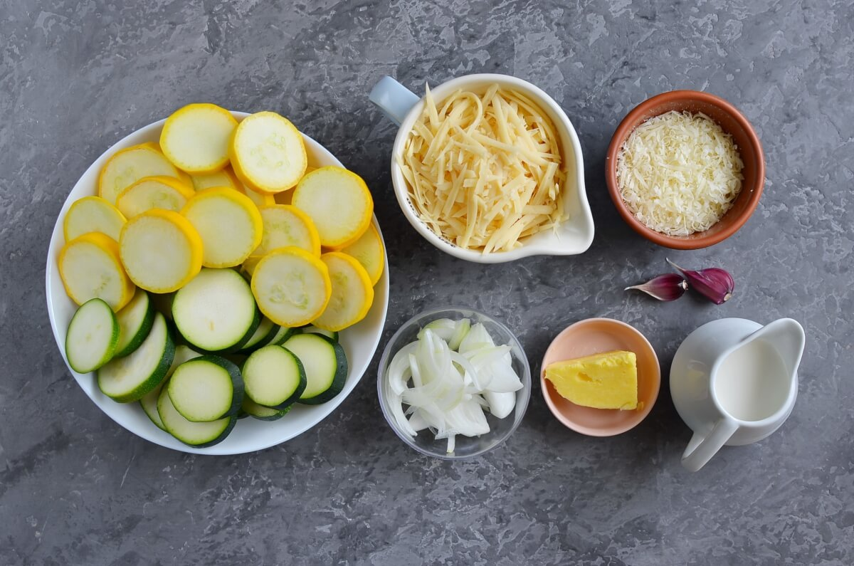 Ingridiens for Zucchini Gratin with Yellow Squash