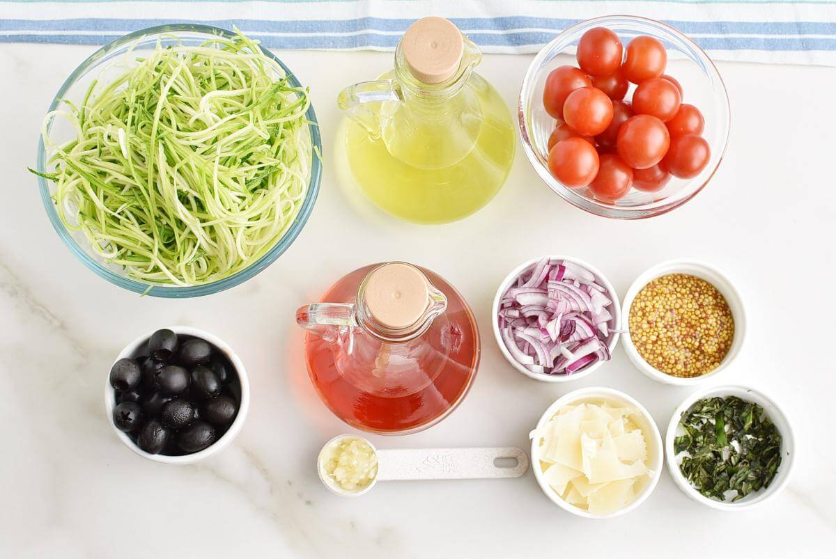"Ingridiens for Zucchini Noodle ""Pasta"" Salad"