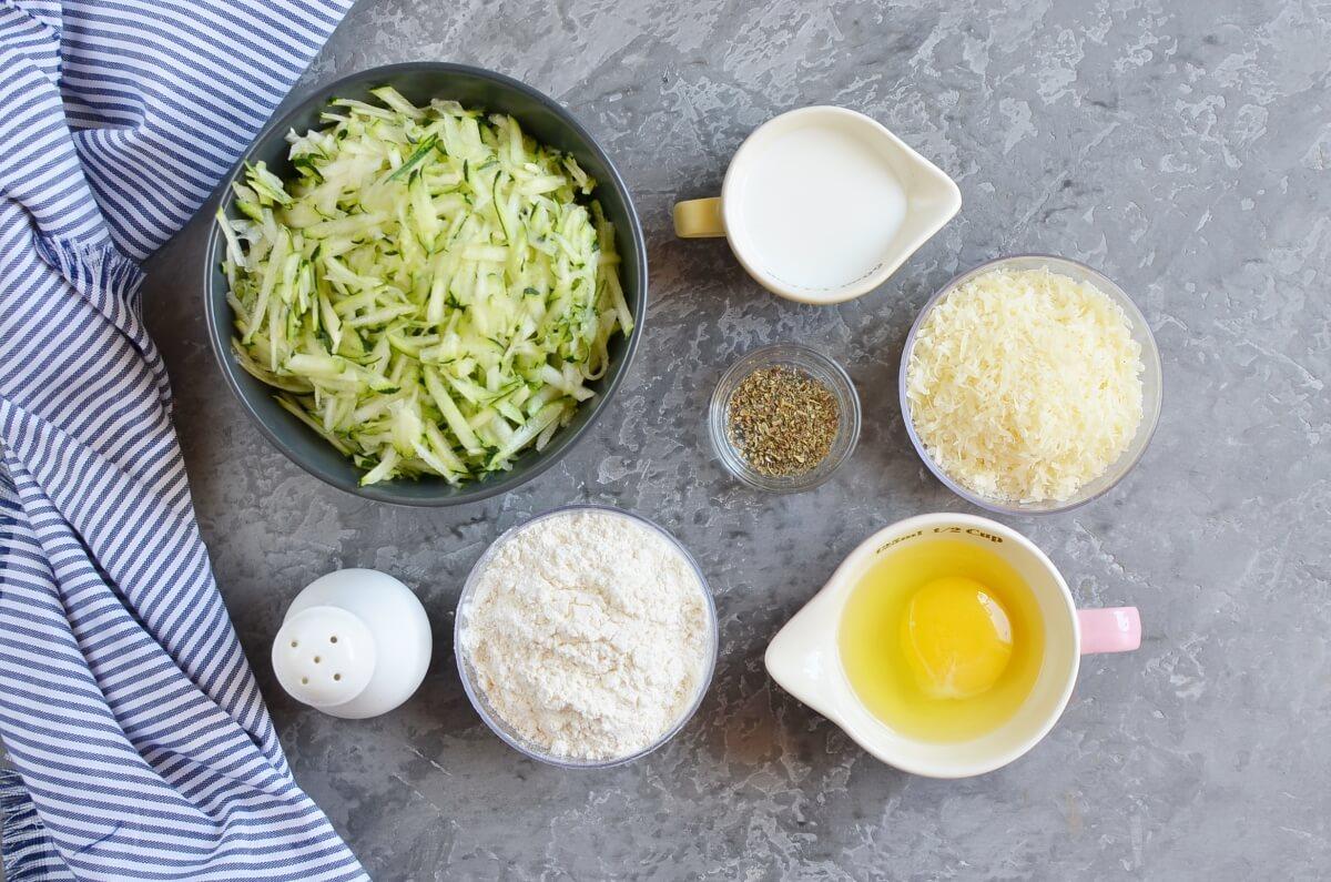 Ingridiens for Zucchini & Parmesan Savory Waffles
