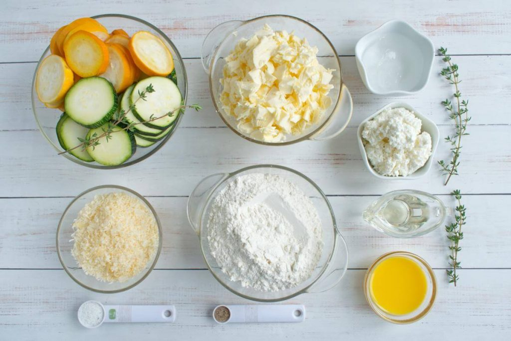 Ingridiens for Zucchini and Goat Cheese Galettes