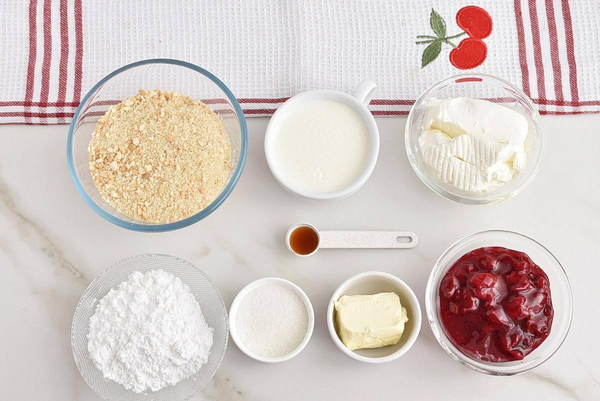 Ingridiens for Cherry Cheesecake Dessert Jar