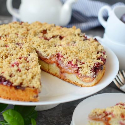 Damson Plum Crumble Cake Recipe-How To Make Damson Plum Crumble Cake-Easy Damson Plum Crumble Cake