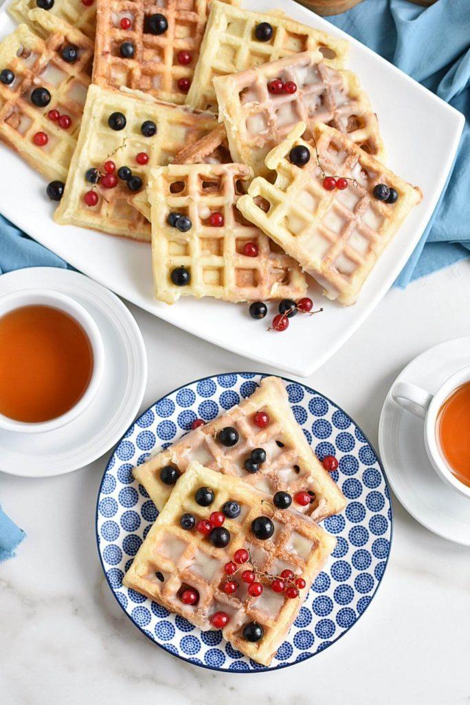 Puffed Waffles with a Sweet Vanilla Glaze