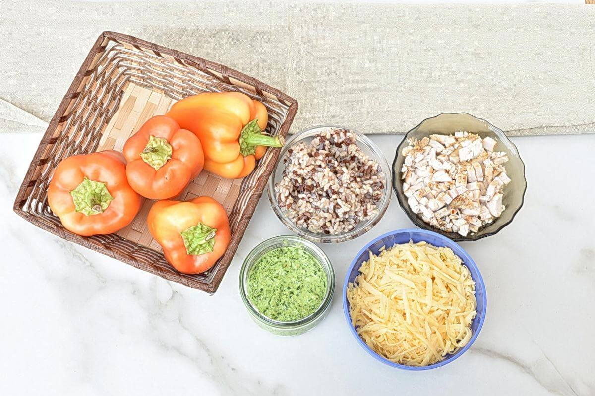 Ingridiens for Easy Chicken Pesto Stuffed Peppers