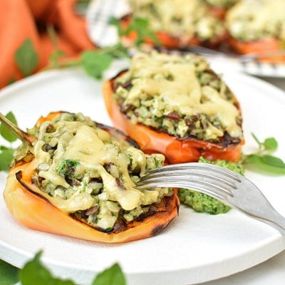 Easy Chicken Pesto Stuffed Peppers Recipe–Homemade Easy Chicken Pesto Stuffed Peppers–Easy Easy Chicken Pesto Stuffed Peppers