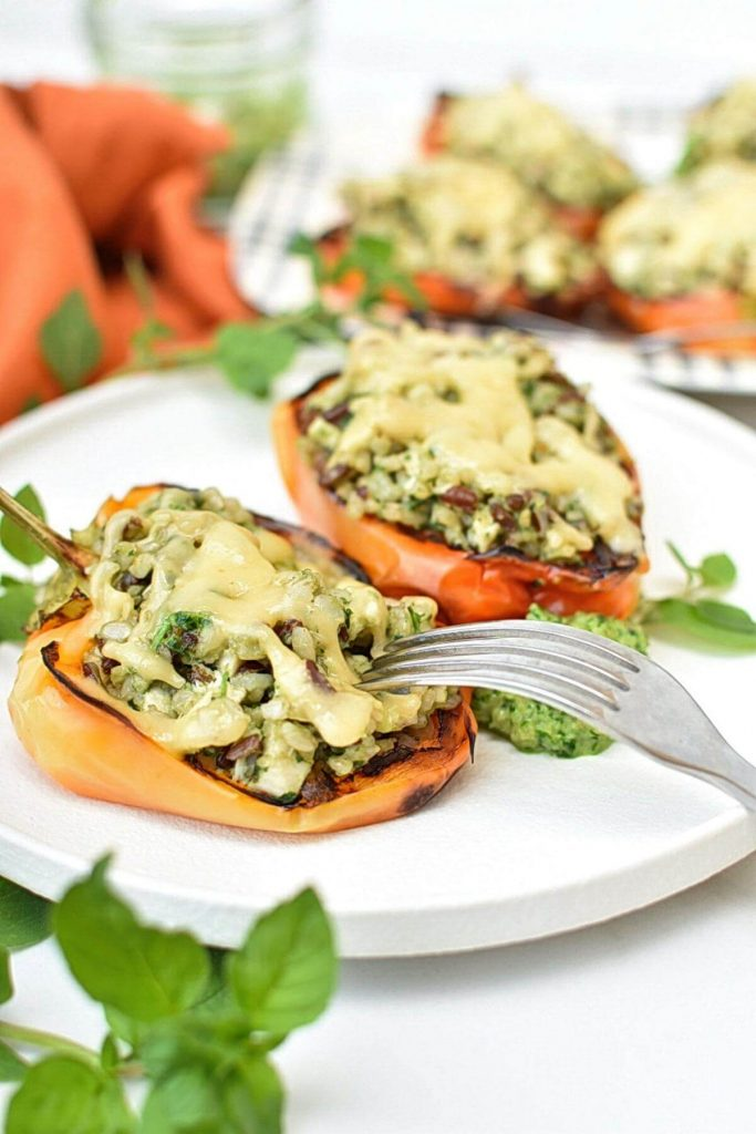 Peppers Stuffed with Chicken, Rice, Pesto and Cheese
