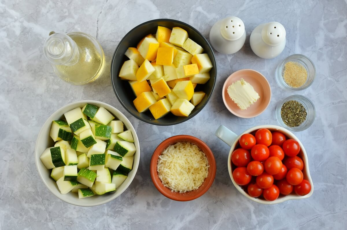 Ingridiens for Garlic-Parmesan Zucchini Squash & Tomatoes