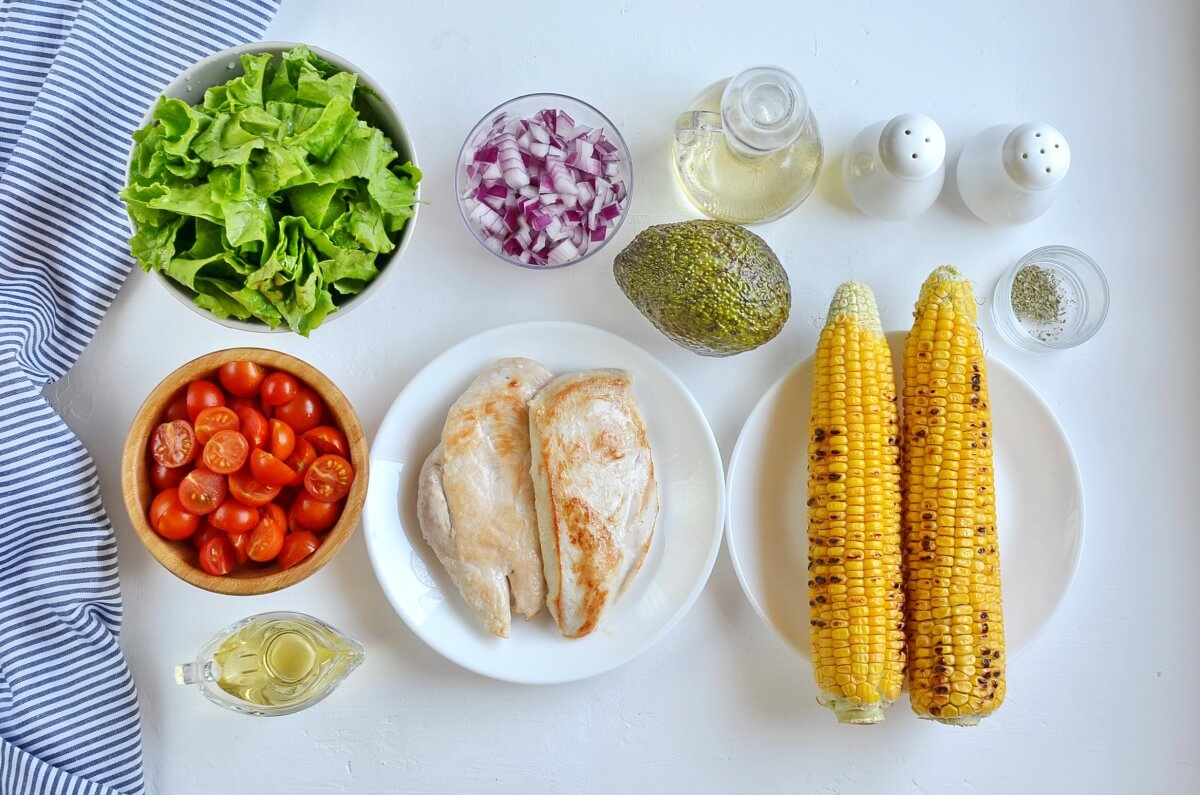 Ingridiens for Grilled Chicken Corn Salad