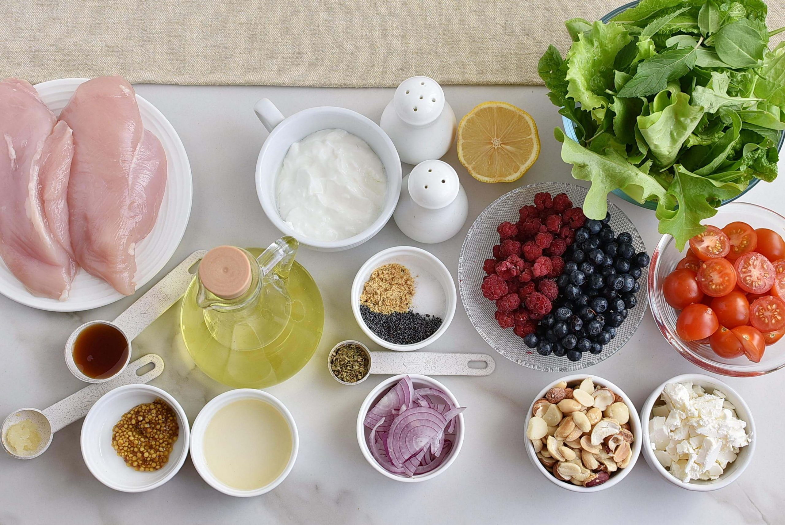 Ingridiens for Grilled Chicken Salad with Raspberry
