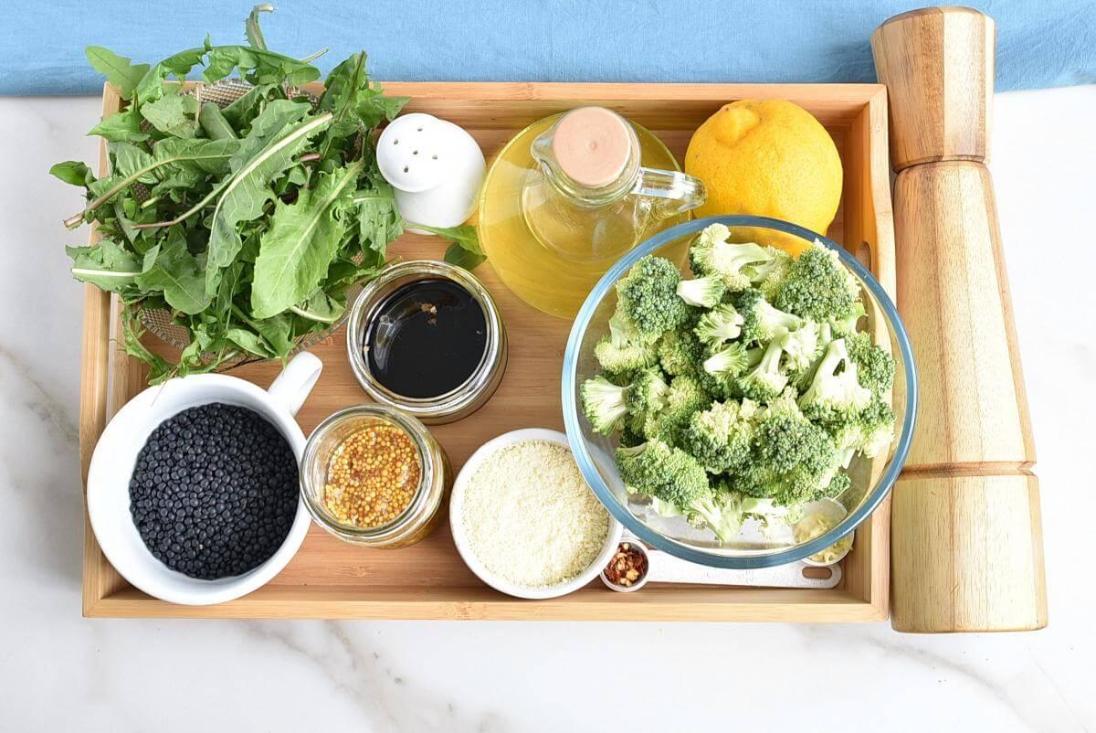 Ingridiens for Lemony Roasted Broccoli, Arugula and Lentil Salad