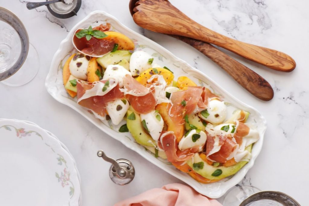 How to serve Melon Peach Salad with Prosciutto