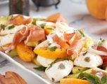 Melon Peach Salad with Prosciutto