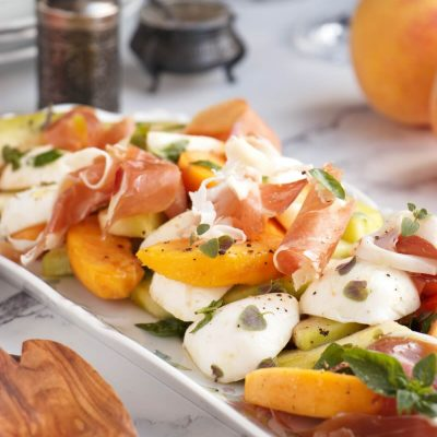 Melon Peach Salad with Prosciutto Recipe-Melon Prosciutto Peach Salad-Peach and Melon Salad with Prosciutto and Mozzarella