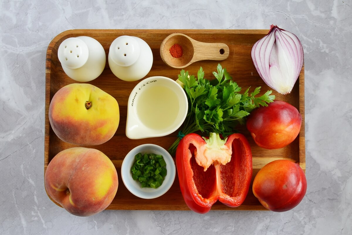 Ingridiens for Peach and Nectarine Salsa