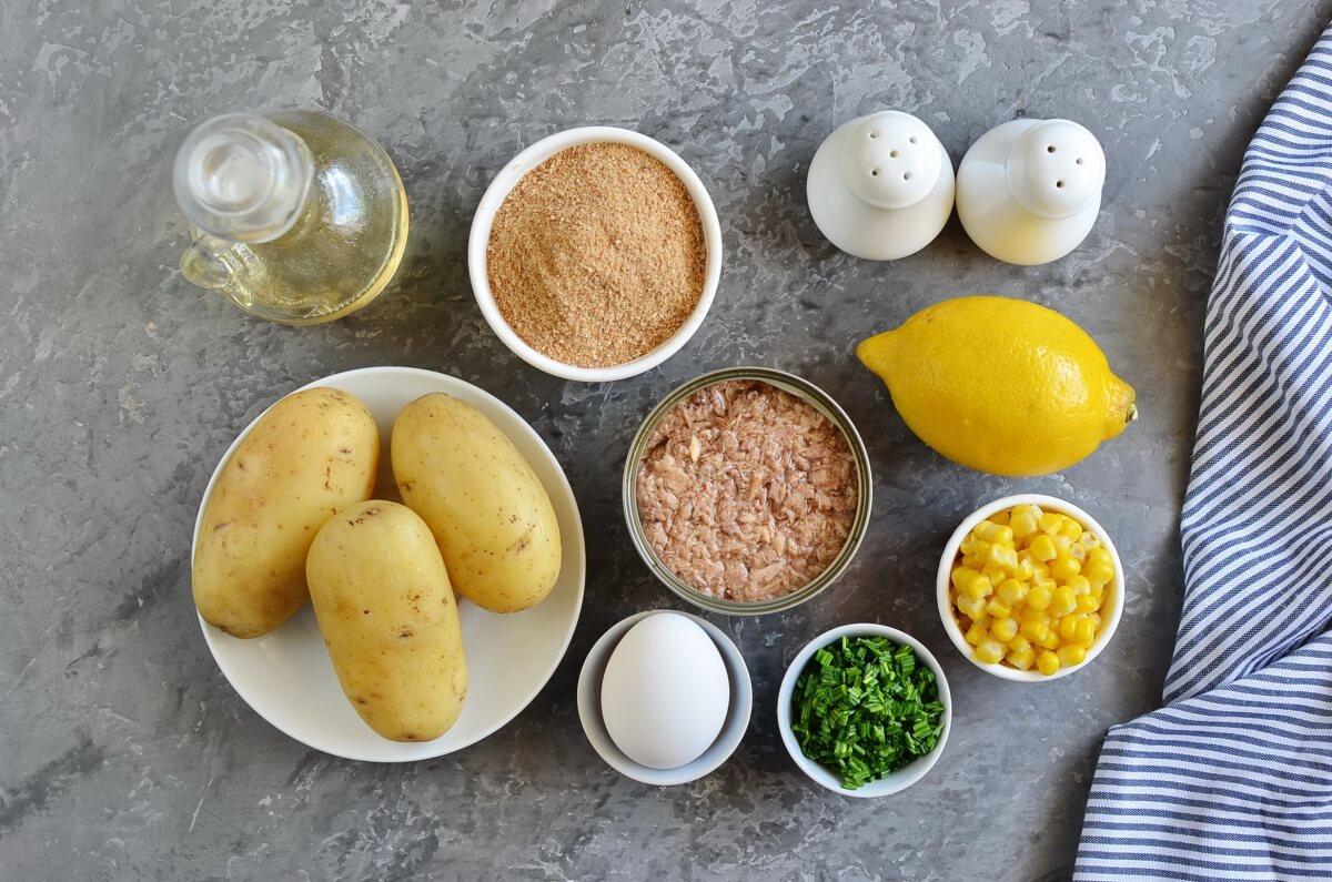Ingridiens for Potato and Tuna Patties