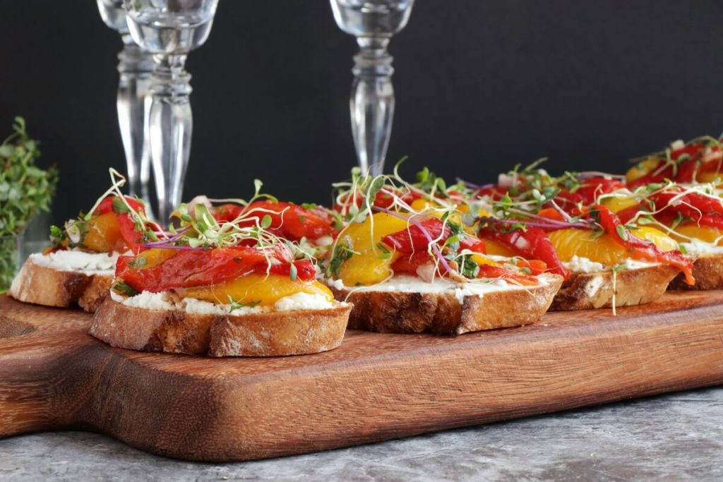 How to serve Bruschetta with Roasted Peppers & Goat Cheese