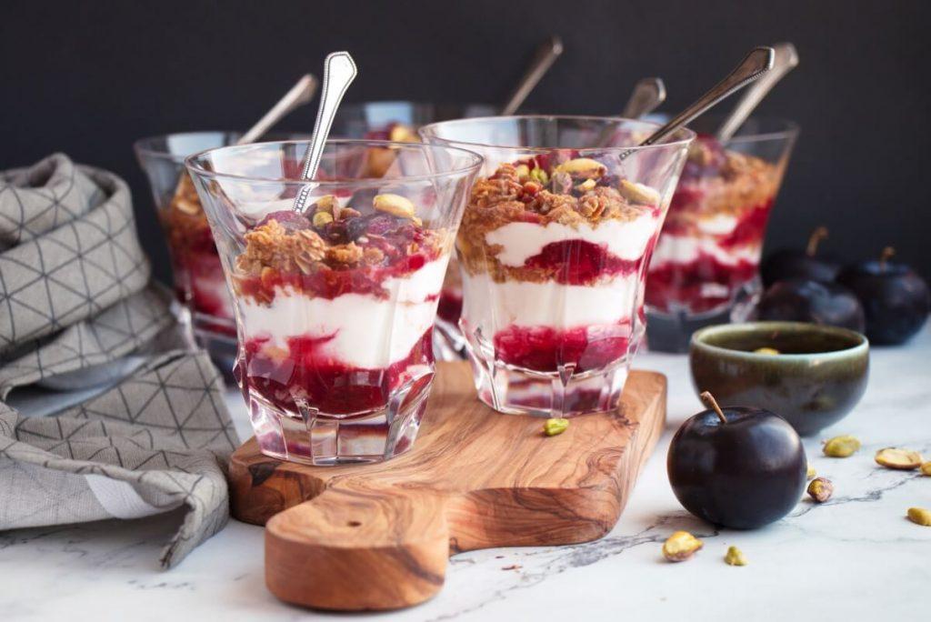 Roasted Plum Breakfast Parfaits Recipe-Roasted Plum Yogurt Parfait-Delicious Plum Parfaits