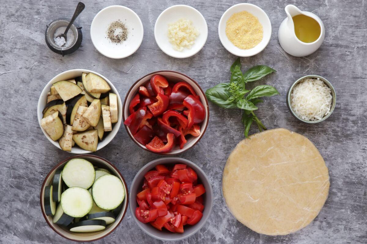 Ingridiens for Rustic Roasted Vegetable Tart