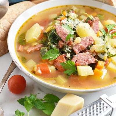 Smoked Sausage and Vegetable Soup Recipe–Homemade Smoked Sausage and Vegetable Soup–Easy Smoked Sausage and Vegetable Soup